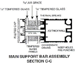 main support bar assembly section C-C